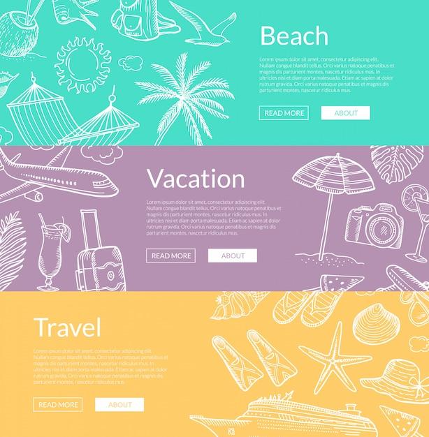 Hand getrokken zomer reizen elementen banner set Premium Vector