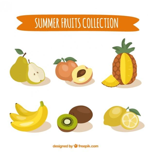 Hand getrokken zomerfruit collectie Gratis Vector