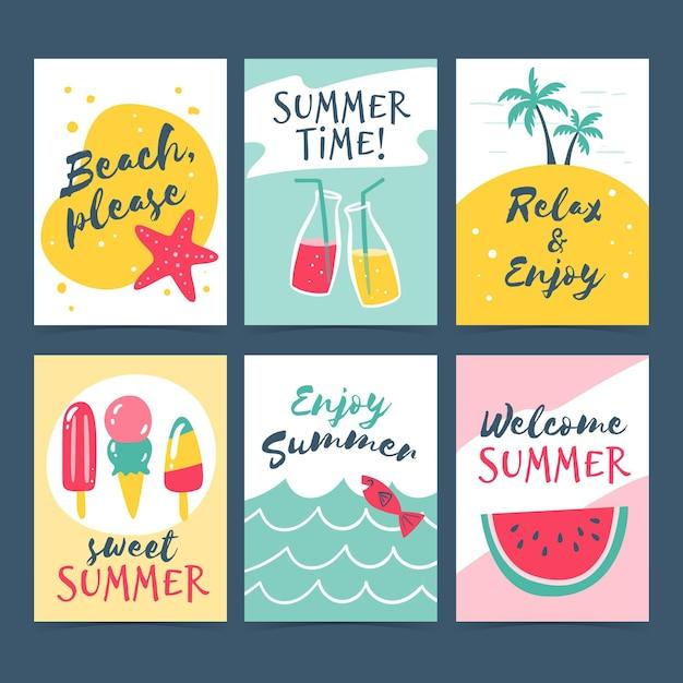 Hand getrokken zomerkaarten collectie Gratis Vector
