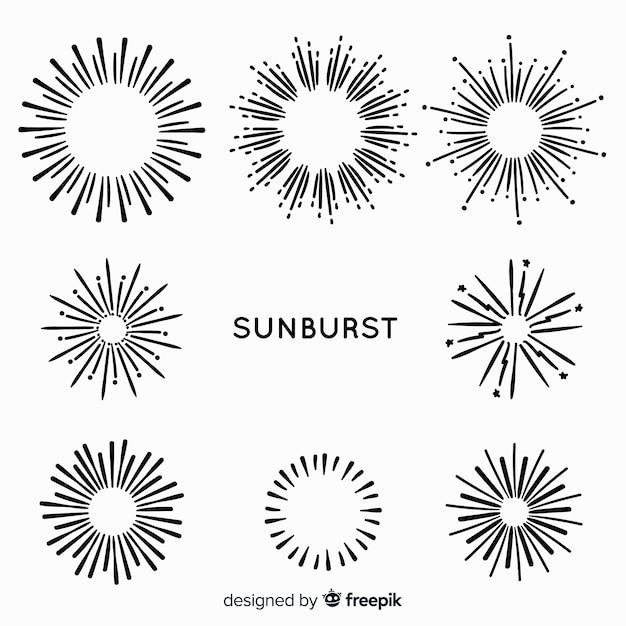 Hand getrokken zonnestraal element collectie Gratis Vector