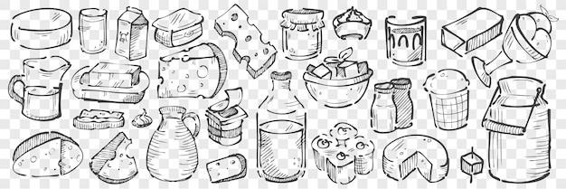 Hand getrokken zuivelproducten doodle set Premium Vector