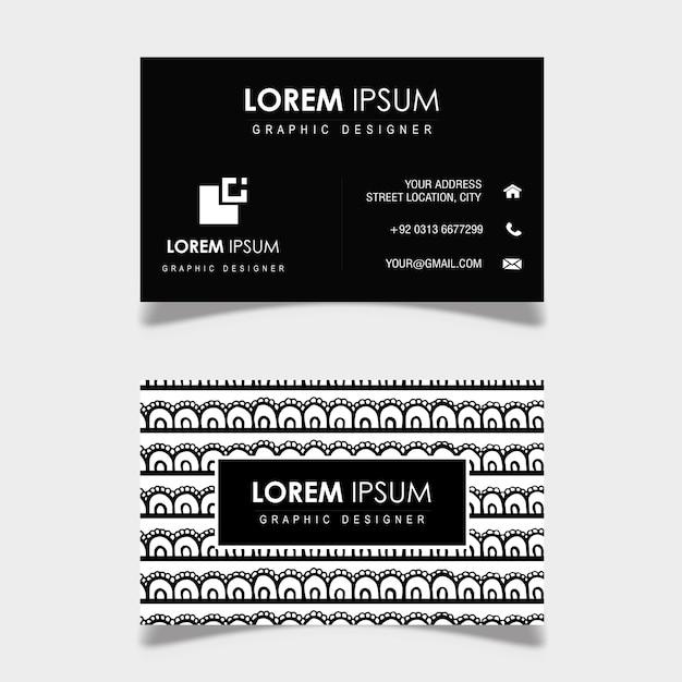 Hand getrokken zwart-wit patroon visitekaartje Gratis Vector