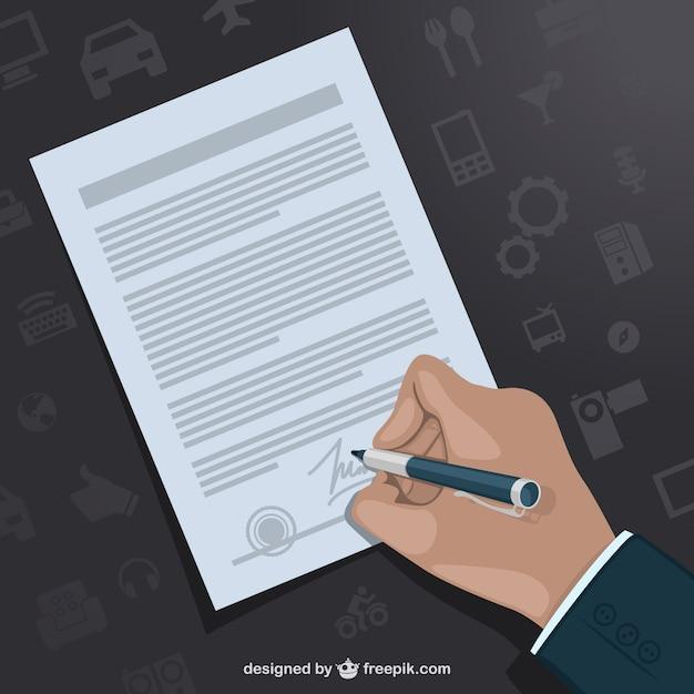 Hand het ondertekenen contract vector sjabloon Gratis Vector
