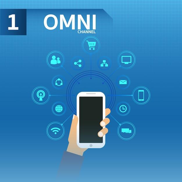 Hand hold smartphone gebruiken omnichanne Premium Vector