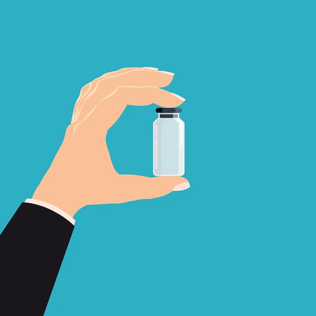 Hand houden apotheek fles glas geneeskunde. Premium Vector