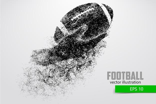 Hand houdt de rugbybal, silhouet. rugby. amerikaans voetbal Premium Vector