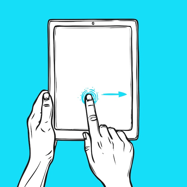 Hand houdt tablet vast Gratis Vector