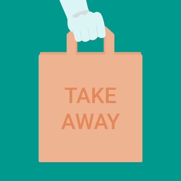 Hand in handschoen houden eco papieren pakket met inscriptie take away. afhaalmaaltijden tijdens de uitbraak van het coronavirus. Premium Vector