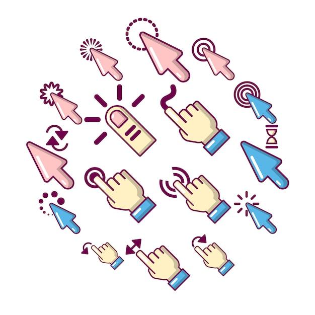 Hand klik iconen set, cartoon stijl Premium Vector
