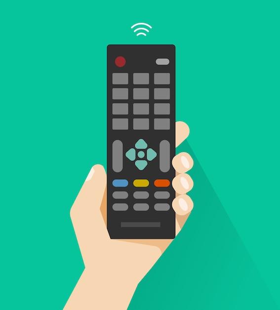 Hand met afstandsbediening van platte cartoon-tv Premium Vector