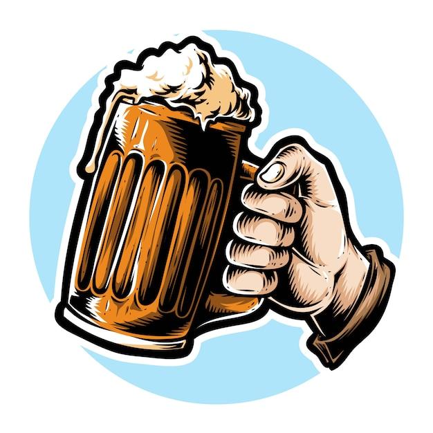 Hand met bier Premium Vector