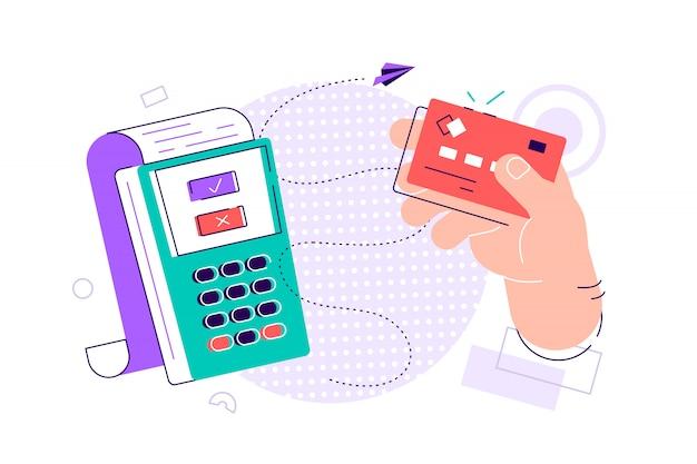 Hand met debet- of creditcard, zwaaien over elektronische terminal of lezer en betalen of kopen. contactloos betalingssysteem of technologie. kleurrijke moderne vectorillustratie in vlakke stijl. Premium Vector