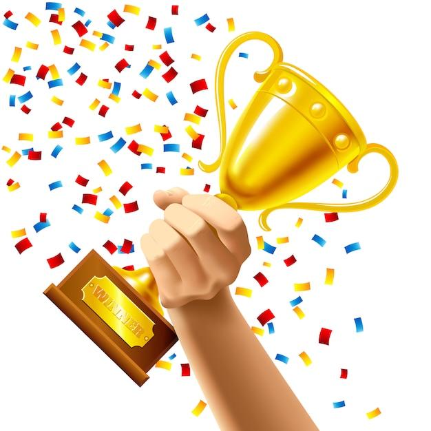 Hand met een winnaar trofee cup award Gratis Vector