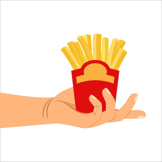 Hand met frietjes Premium Vector