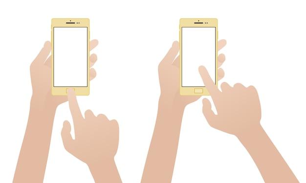Hand met gouden smartphone, lege witte scherm aan te raken Premium Vector