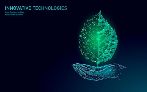 Hand met groene plant blad ecologische abstract concept. red de planeet Premium Vector