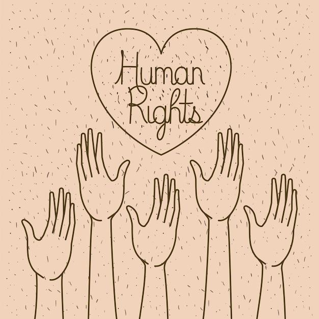 Hand met hart mensenrechten getekend Premium Vector