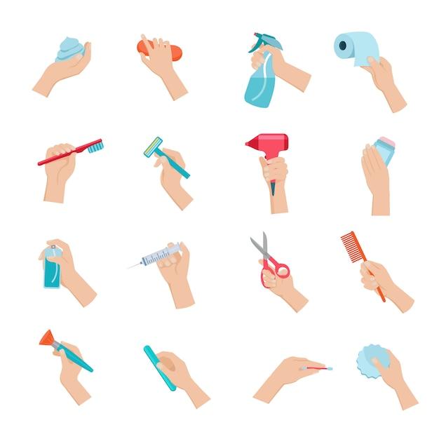 Hand met huishoudelijke objecten en hygiëne accessoires pictogrammen instellen Gratis Vector