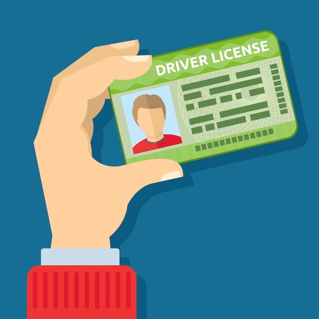 Hand met id-kaart Premium Vector