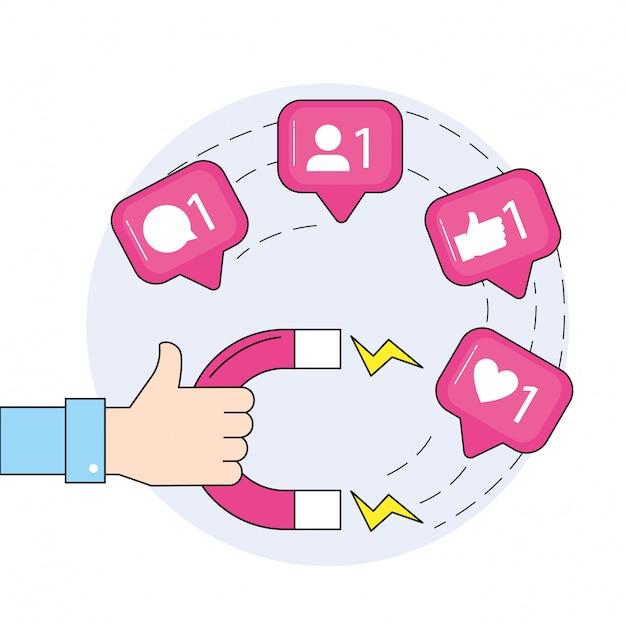 Hand met magneet en sociale media-boodschap Premium Vector