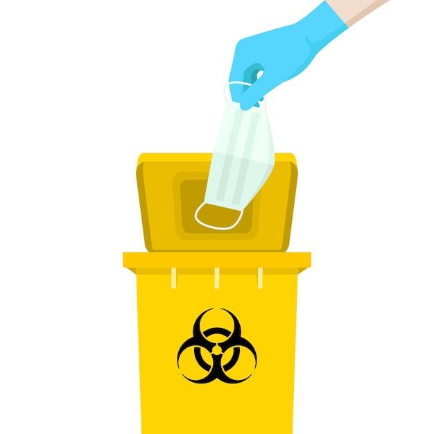 Hand met masker is boven de gele bak, met het symbool van besmettelijk afval. Premium Vector