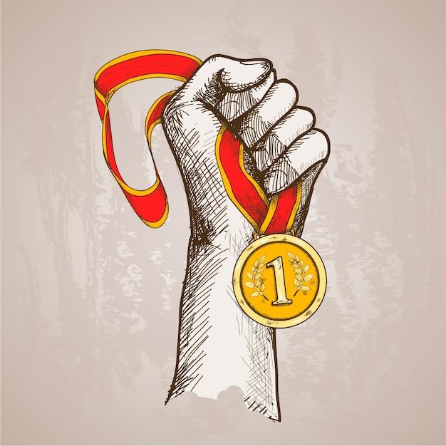 Hand met medaille Gratis Vector