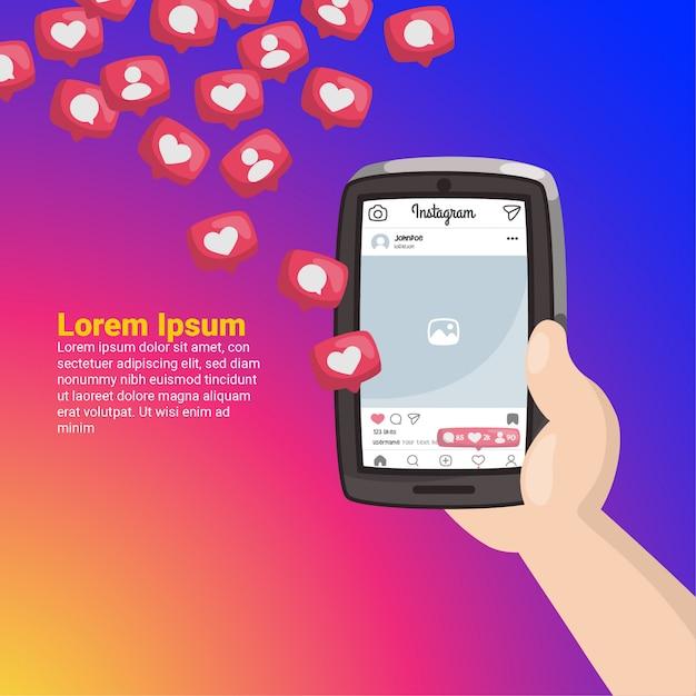 Hand met mobiele telefoon met instagram-meldingen Premium Vector