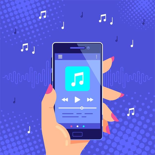 Hand met moderne telefoon afspelen van audio of radio. gebruikersinterface van de smartphone-muziekspeler. mediaspeler-app. Premium Vector