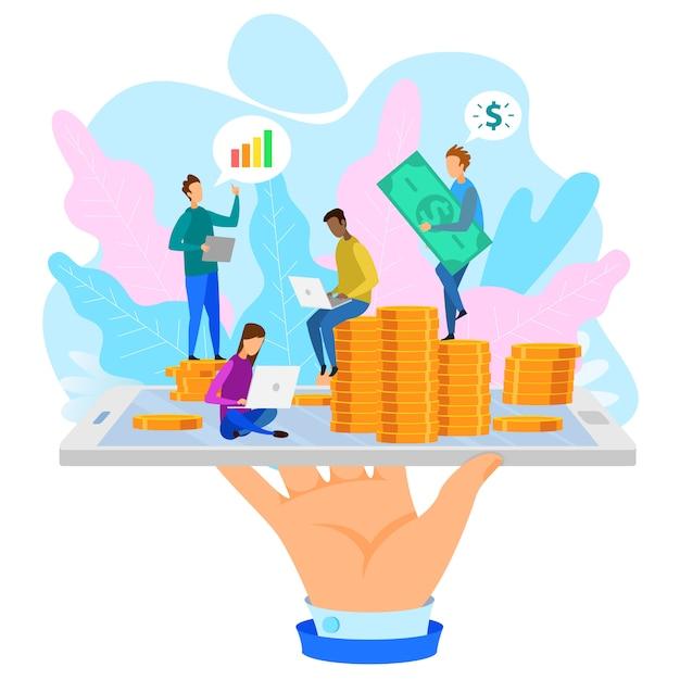 Hand met phone coin cartoon people ontwikkelaarsteam Premium Vector