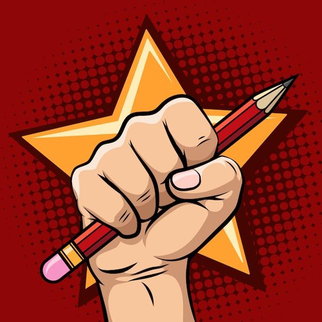 Hand met potlood illustratie Premium Vector