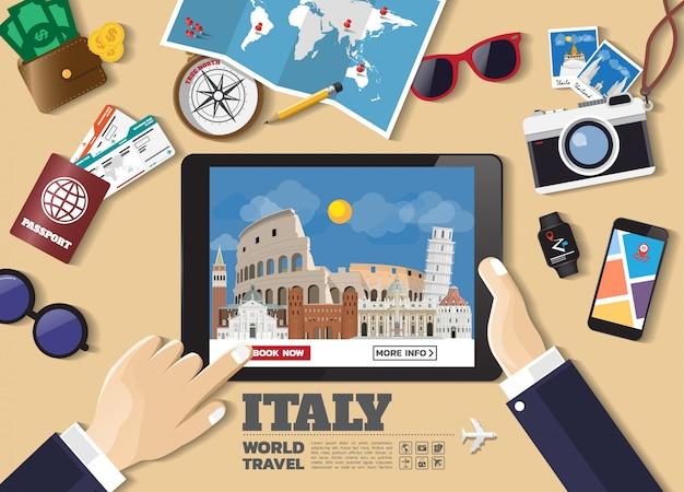 Hand met slimme apparaat boeken reisbestemming. italië beroemde plaatsen Premium Vector