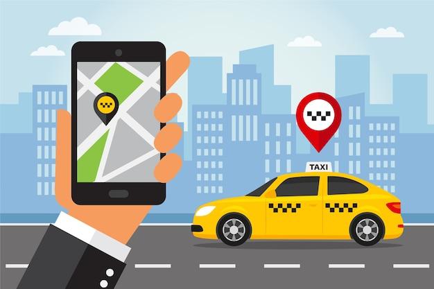 Hand met slimme telefoon met taxi-app tentoongesteld. taxiservice in vlakke stijl. Premium Vector