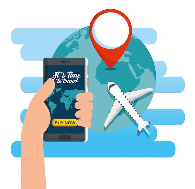 Hand met smartphone en eathplaneet met locatieteken Gratis Vector