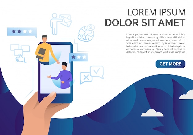 Hand met smartphone met klant opmerkingen sjabloon Gratis Vector