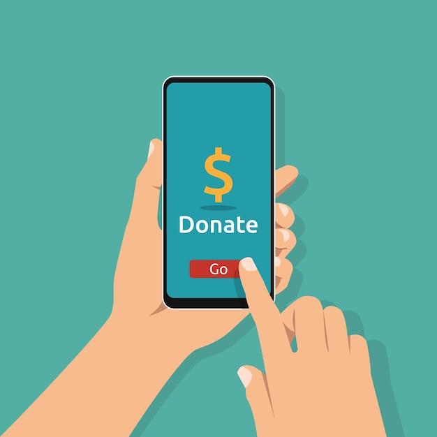 Hand met smartphone met online donatiesymbool op scherm. liefdadigheid en goede daad Premium Vector