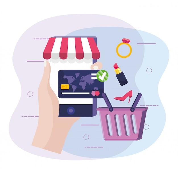 Hand met smartphone om online te kopen en creditcard Premium Vector