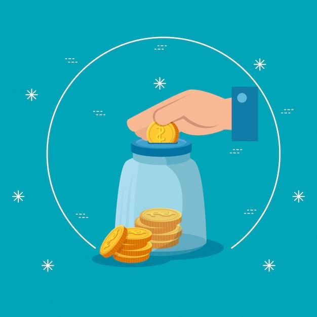 Hand met spaarpot en munten geïsoleerde pictogram Gratis Vector