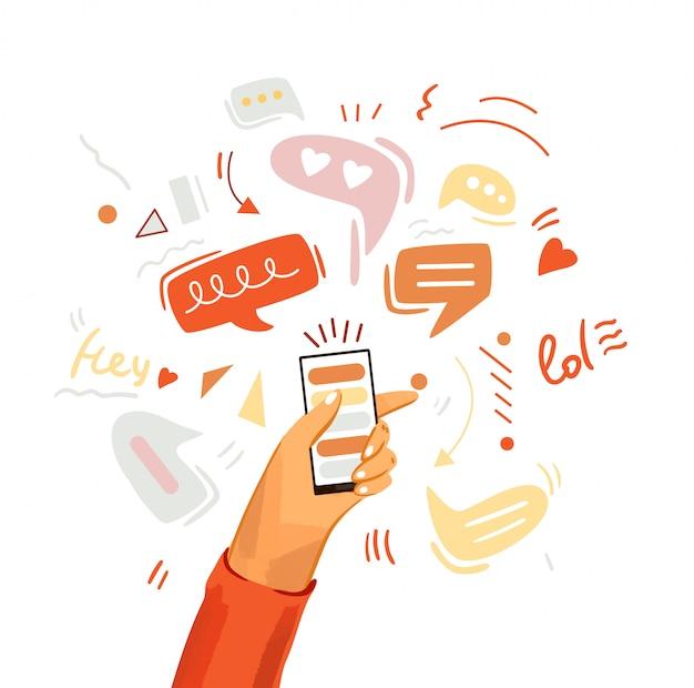 Hand met telefoon cartoon illustratie. smartphone met messenger, online chat, zoals en sociale betrokkenheid, geïsoleerd op een witte achtergrond Premium Vector