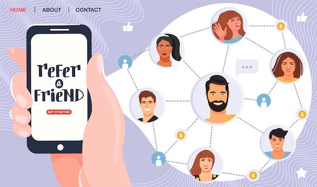 Hand met telefoon en nodigt zijn vrienden uit voor verwijzingsprogramma. Premium Vector