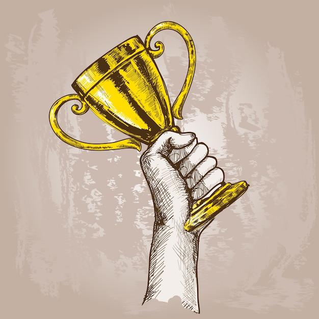 Hand met trofee Gratis Vector