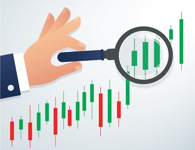 Hand met vergrootglas en beurs grafiek Premium Vector