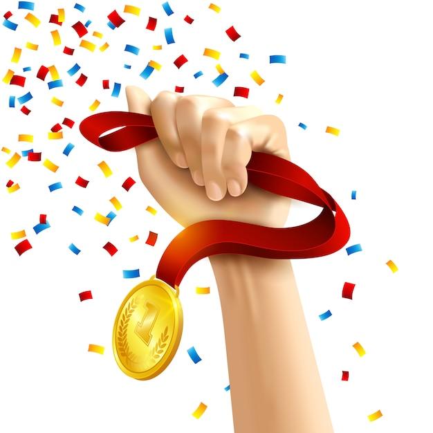 Hand met winnaars medaille award Gratis Vector