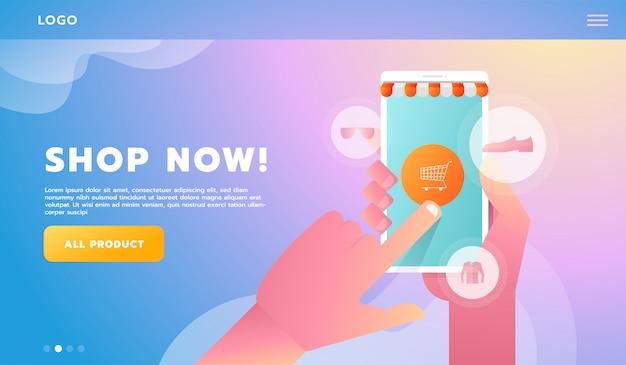 Hand online bedrijfsconcept conceptuele vlakke stijl winkelen. vector illustratie. voor workflowsjabloon Premium Vector