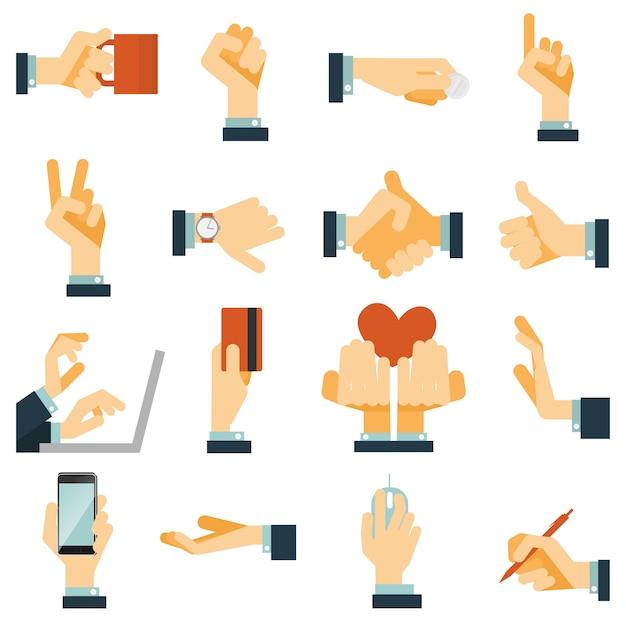Hand pictogrammen instellen plat Gratis Vector
