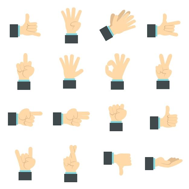 Hand pictogrammen instellen, platte ctyle Premium Vector