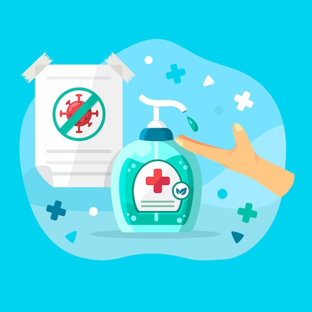 Hand sanitizer illustratie Gratis Vector
