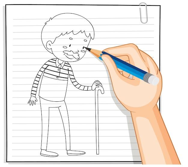 Hand schrijven van oude man met stok overzicht Gratis Vector