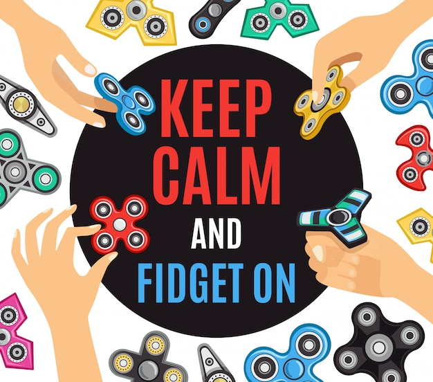 Hand spinner fidget advertentie poster Gratis Vector