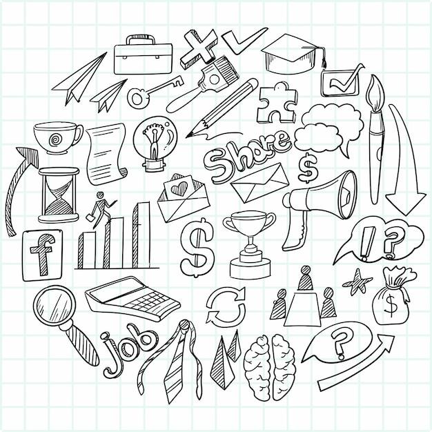 Hand tekenen bedrijfsidee doodles schetsontwerp Gratis Vector