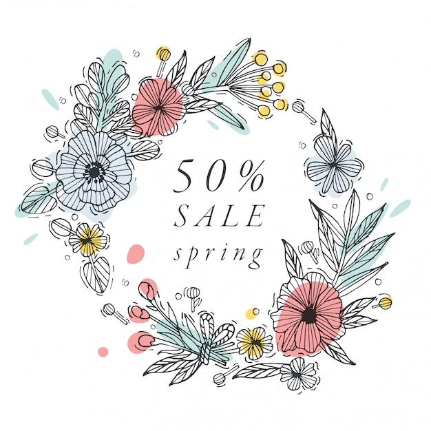 Hand tekenen bloemen voor de lente verkoop kaart kleurrijke kleur. typografie en pictogram voor speciale verkoop bieden achtergrond, banners of posters en andere printables. Premium Vector